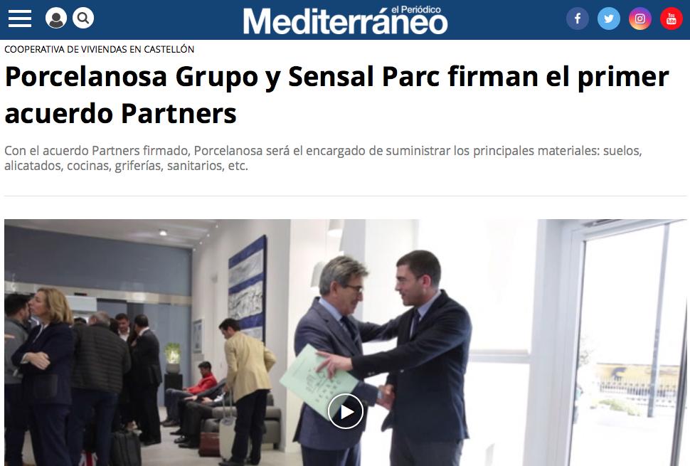 """""""El Periódico Mediterráneo"""" Porcelanosa Grupo y Sensal Parc firman el primer acuerdo Partners"""